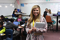 NWA Democrat-Gazette/J.T. WAMPLER Anna Shaw, math teacher at Kelly Middle School in Springdale, is one of four Arkansas teachers, including three from Northwest Arkansas, who were selected as recipients of the Presidential Awards for Excellence in Mathematics and Science Teaching. Shaw is seen here Wednesday Nov. 6, 2019 in her classroom\.