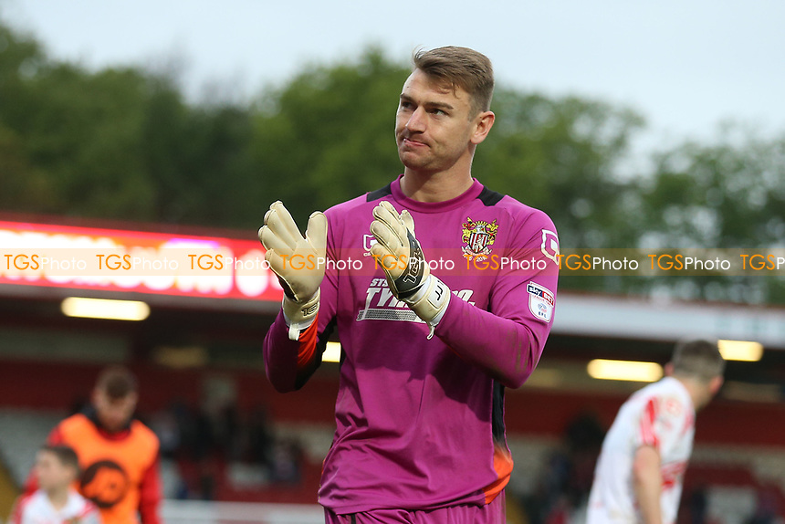 Jamie Jones of Stevenage thanks the fans during Stevenage vs Accrington Stanley, Sky Bet EFL League 2 Football at the Lamex Stadium on 6th May 2017