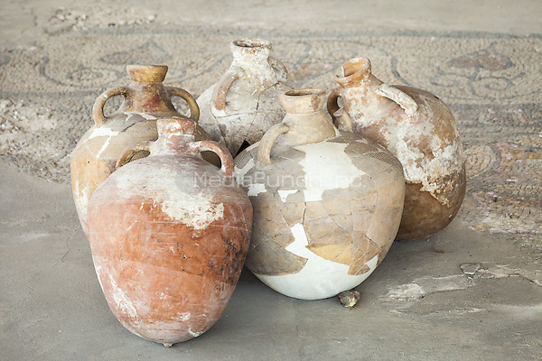Ceramic pots in the Roman Mosaic Museum, also known as the Roman Edifice, Constanta, Romania   June 2015<br /> CAP/MEL<br /> &copy;MEL/Capital Pictures /MediaPunch ***NORTH AND SOUTH AMERICA ONLY***