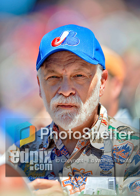 25 July 2012: Educator and Baseball Historian Philip Ross sports a Montreal Expos cap during a game between the Washington Nationals and the New York Mets at Citi Field in Flushing, NY. The Nationals defeated the Mets 5-2 to sweep their 3-game series. Mandatory Credit: Ed Wolfstein Photo