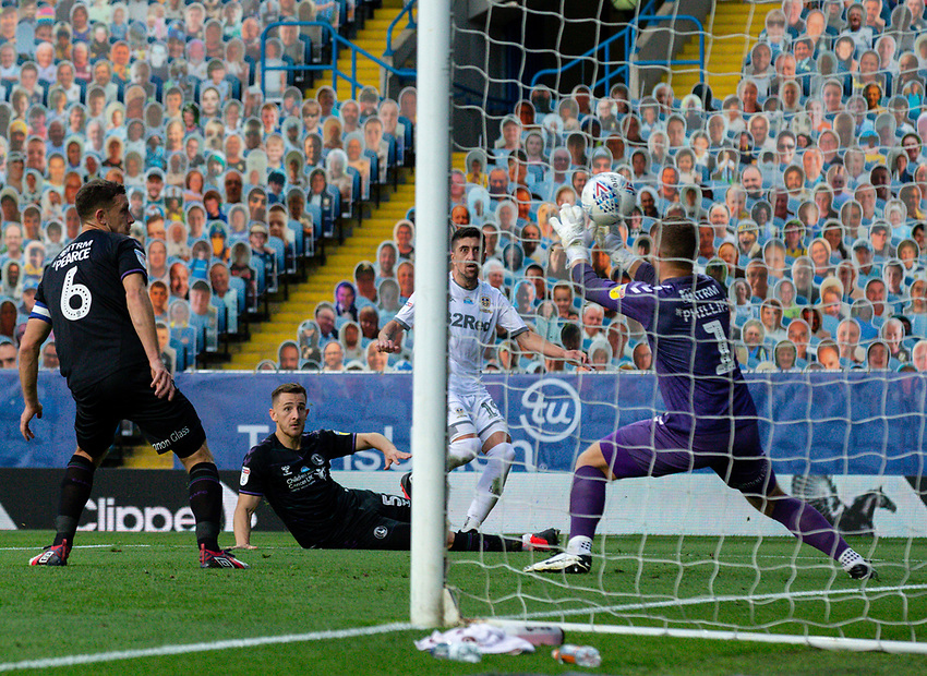 Leeds United's Pablo Hernandez sees his shot saved by Charlton Athletic's Dillon Phillips<br /> <br /> Photographer Alex Dodd/CameraSport<br /> <br /> The EFL Sky Bet Championship - Leeds United v Charlton Athletic - Wednesday July 22nd 2020 - Elland Road - Leeds <br /> <br /> World Copyright © 2020 CameraSport. All rights reserved. 43 Linden Ave. Countesthorpe. Leicester. England. LE8 5PG - Tel: +44 (0) 116 277 4147 - admin@camerasport.com - www.camerasport.com