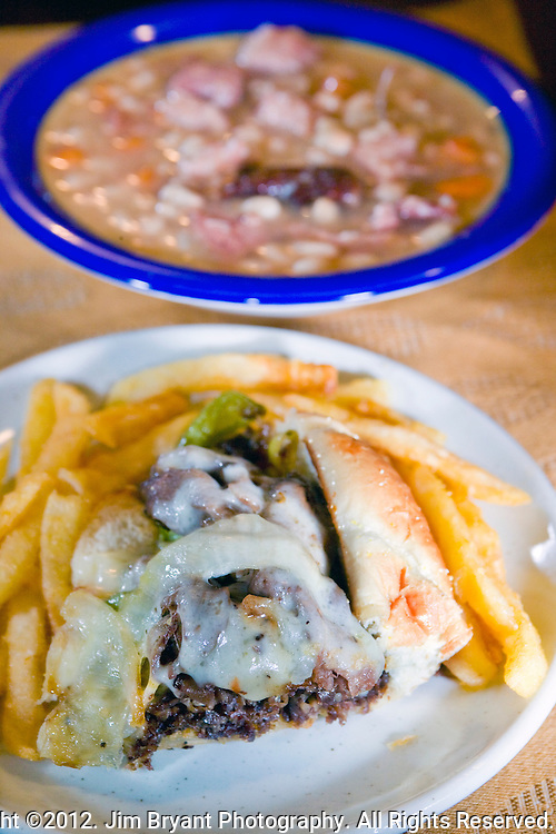 Philly Cheese Steak, Ham and bean soup. ©2012. Jim Bryant Photo. All Rights Reserved.