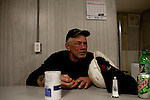 Kendrick Brinson.LUCEO..Kent Stafford, 56, of Rochester, Minnesota, washes his hands after a 12.5 hour night shift on an Ensign Drilling Rig outside of Williston, North Dakota, seen January 2012. He and his colleagues share a mancamp, where he sits right after a shift. The mancamp is a trailer just steps from the rig with two bedrooms and six bunk beds. ..Williston is currently experiencing an influx of people relocating there for the town's third oil boom. ..Model Released: yes.Assigning Editor: Michael Wichita.