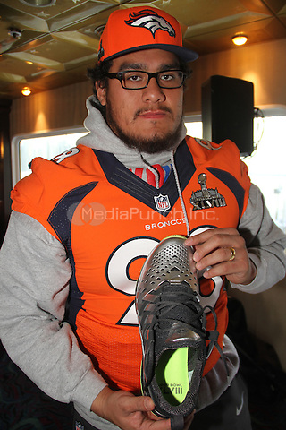 JERSEY CITY, NJ - JANUARY 29: Sione Fua attending the Denver Broncos press conference at the Cornucopia Majesty ship at the Hyatt in Jersey City, New Jersey on January 29, 2014. Photo Credit: Walik Goshorn/MediaPunch.