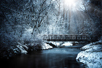 Bridge over Nine Mile Creek on a snowy winter morning.