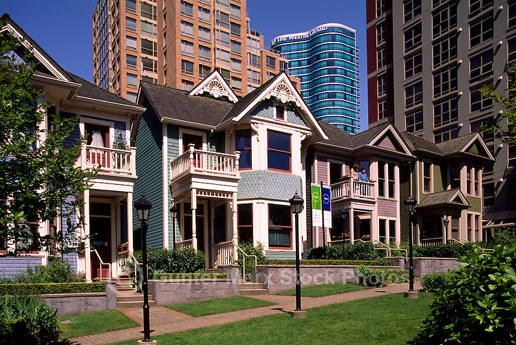 Yaletown, Vancouver, BC, British Columbia, Canada - Heritage Houses and High Rise Apartment Condominium Buildings, Downtown in the City on Hamilton Street