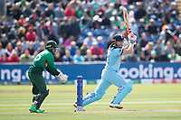 Jonny Bairstow (England) drives through extra cover for four during England vs Bangladesh, ICC World Cup Cricket at Sophia Gardens Cardiff on 8th June 2019