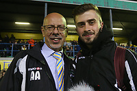 Haringey Chairman AKi Achillea is seen with his Nephew and YouTube Blogger George Achillea during Haringey Borough vs AFC Wimbledon, Emirates FA Cup Football at Coles Park Stadium on 9th November 2018