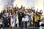 01 December 2012: Galaxy captain Landon Donovan holds the Philip F. Anschutz Trophy overhead while celebrating with his team. The Los Angeles Galaxy played the Houston Dynamo at the Home Depot Center in Carson, California in MLS Cup 2012. Los Angeles won the game 3-1.