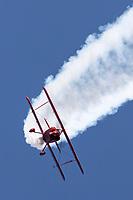 Sean Tucker from Salinas, California, performs aerobatics in the Oracle Challenger III biplane.