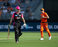 26th December 2019; Optus Stadium, Perth, Western Australia, Australia;  Big Bash League Cricket, Perth Scorchers versus Sydney Sixers; Daniel Hughes of the Sydney Sixers walks off after being stumped for 35 off the bowling of Ashton Agar of the Perth Scorchers - Editorial Use