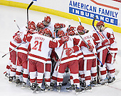 The Wisconsin Badgers hudde around Brian Elliott before the start of the game. The Boston College Eagles defeated the University of Wisconsin Badgers 3-0 on Friday, October 27, 2006, at the Kohl Center in Madison, Wisconsin in their first meeting since the 2006 Frozen Four Final which Wisconsin won 2-1 to take the national championship.<br />