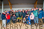 """Ballyduff Coursing :  Strikeabooze Syndicate,  Ballyduff  owner of the winner of the National Breeders Derby Trial Stake  sponsored by Broiwnes Bar, Ballyduff """" Tellmemorelies"""" celabrating their win on Sunday last."""