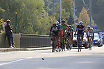 The breakaway group featuring Davide Ballerini (ITA) Androni Giocattoli-Sidermec, Umberto Orsini and Alessandro Tonelli (ITA) Bardiani-CSF, Florian Sénéchal (FRA) Quick-Step Floors, Franck Bonnamour (FRA) Fortuneo-Samsic, Jhonatan Restrepo (COL) Katusha Alpecin, Michael Storer (AUS) Team Sunweb and Marco Marcato (ITA) UAE Team Emirates approach a level crossing at Albino during the 112th edition of Il Lombardia 2018, the final monument of the season running 241km from Bergamo to Como, Lombardy, Italy. 13th October 2018.<br /> Picture: Eoin Clarke | Cyclefile<br /> <br /> <br /> All photos usage must carry mandatory copyright credit (© Cyclefile | Eoin Clarke)