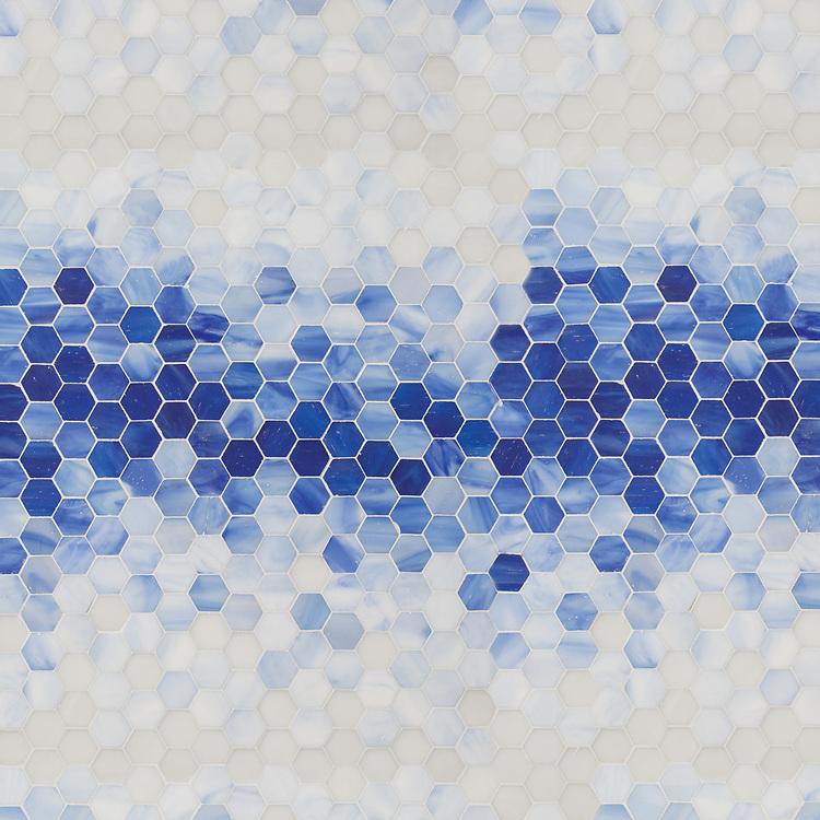 Hex Mist, a waterjet cut jewel glass mosaic, shown in Lapis Lazuli, Iolite, Covelite, Moonstone and Opal Sea Glass™.