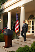 Washington, D.C. - June 8, 2006 -- United States President George W. Bush comments on the killing of Al-Qaida operative Abu Musab al-Zarqawi in Iraq during a statement in the Rose Garden of the White House, in Washington, DC, June 8, 2006.<br /> Credit: Martin H. Simon - Pool via CNP