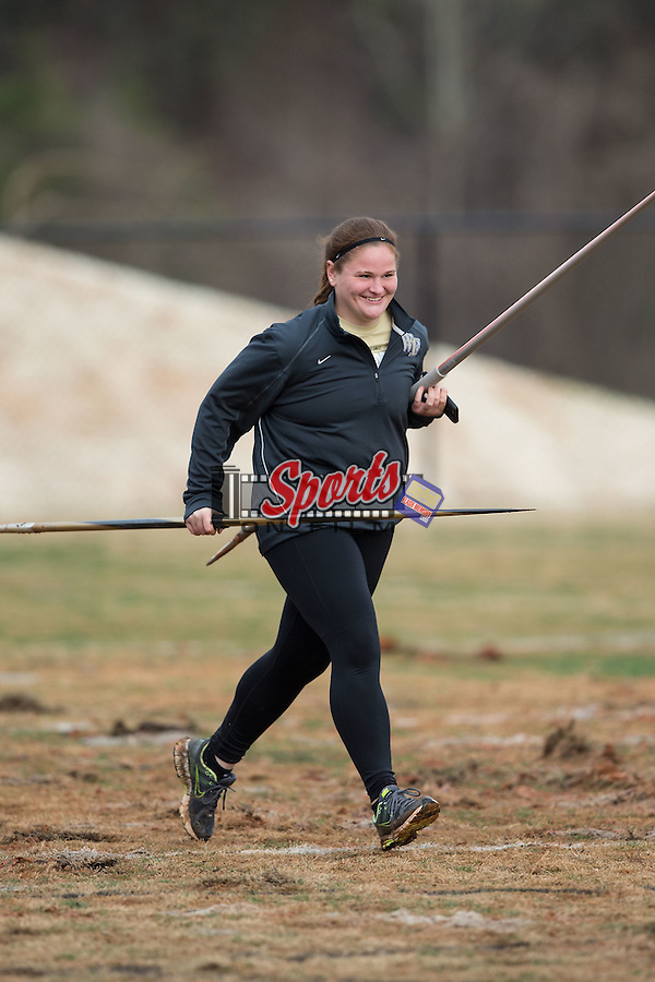 Wake Forest Demon Deacons thrower Emily Campbell assists with retrieving javelins at the Wake Forest Open on March 20, 2015 in Winston-Salem, North Carolina.  (Brian Westerholt/Sports On Film)