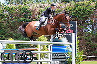 NZL-Brayden Aarts rides Chrialka Jago in Class 3: WOODVIEW CONSTRUCTION HORSE 1.35M - Classic AM5. 2017 NZL-Showjumping Waitemata World Cup Show, Woodhill Sands, Helensville. Friday 13 January. Copyright Photo: Libby Law Photography