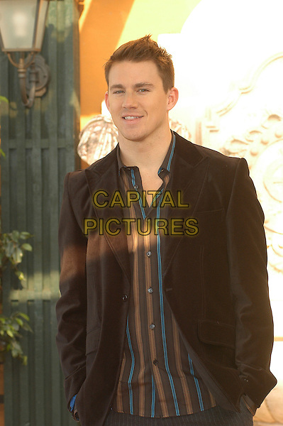 """CHANNING TATUM .Photocall for """"Stp Up"""", Hotel Eden, Rome, Italy..December 15th, 2006.half length brown suit jacket.CAP/CAV.©Luca Cavallari/Capital Pictures"""