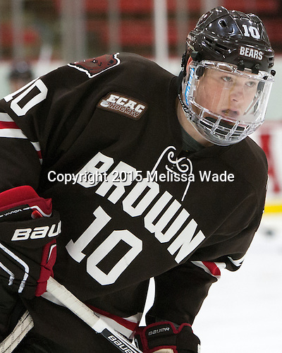 Max Willman (Brown - 10) - The Harvard University Crimson defeated the Brown University Bears 4-3 to sweep their first round match up in the ECAC playoffs on Saturday, March 7, 2015, at Bright-Landry Hockey Center in Cambridge, Massachusetts.