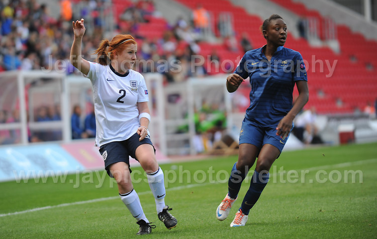 Martha Harris of England in action against Kadidiatou Diani of France during the UEFA Womens U19 Final at Parc y Scarlets Saturday 31st August 2013. All images are the copyright of Jeff Thomas Photography-www.jaypics.photoshelter.com-07837 386244-Any use of images must be authorised by the copyright owner.