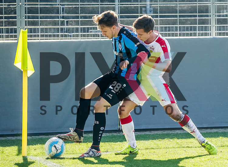 Dennis ROTHENSTEIN \ Nicolas SESSA\ beim Spiel VfB Stuttgart II -  SV Waldhof Mannheim.<br /> <br /> Foto &copy; PIX-Sportfotos *** Foto ist honorarpflichtig! *** Auf Anfrage in hoeherer Qualitaet/Aufloesung. Belegexemplar erbeten. Veroeffentlichung ausschliesslich fuer journalistisch-publizistische Zwecke. For editorial use only.