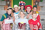 RETURNED EMIGRANTS: The Lixnaw Wrenboys at the Fancy Dress parade in Lixnaw on Sunday. In front: Joe Lawlor and Chris Mahony. Back l-r: Raymond OConnell, Maurice Regan, Liam Power, Patrick Regan and Tommy Allen..