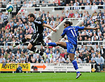 Newcastle's Steven Taylor and Chelsea's Didier Drogba. during the Premier League match at the St James' Park Stadium, Newcastle. Picture date 5th May 2008. Picture credit should read: Richard Lee/Sportimage