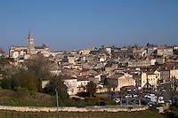 View from the vineyard over town. Chateau Ausone, Saint Emilion, Bordeax, France