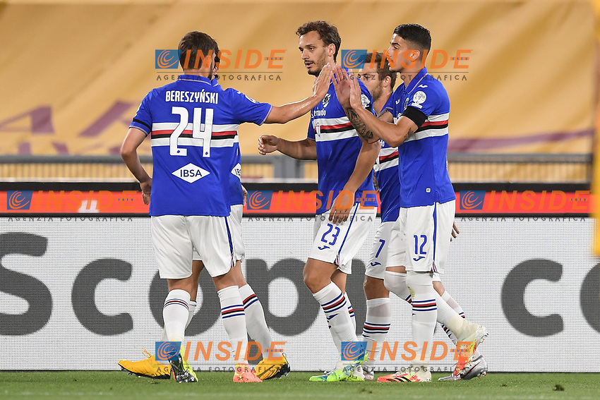 Manolo Gabbiadini of Sampdoria celebrates after scoring a goal with Fabio Depaoli and Bartosz Bereszynski<br /> during the Serie A football match between AS Roma and UC Sampdoria at Olimpico stadium in Rome ( Italy ), June 24th, 2020. Play resumes behind closed doors following the outbreak of the coronavirus disease. <br /> Photo Andrea Staccioli / Insidefoto