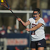 Grace Tauckus #17 of Cold Spring Harbor makes a pass during a Nassau County varsity girls lacrosse game against Long Beach at Cold Spring Harbor High School on Wednesday, April 18, 2018. Cold Spring Harbor won by a score of 13-2.