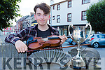 Conor Daly Rockchapel is presented the Mike Kenny Perpetual Cup for best young musician at the Mike Kenny festival in Castleisland on Saturday evening