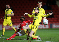 Charlton's Tariqe Fosu stretches forward, but fails to connect with a low hard cross as Burton's John Brayford watches the ball go out of play for a throw in during Charlton Athletic vs Burton Albion, Sky Bet EFL League 1 Football at The Valley on 12th March 2019