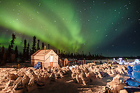 The Northern lights light up the sky at the Cripple checkpoint on Thursday March 10 during Iditarod 2016.  Alaska.    <br /> <br /> Photo by Jeff Schultz (C) 2016  ALL RIGHTS RESERVED