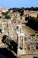 Rome 2007.Roman Forum, view from Campidoglio,..Foro Romano-Palatino