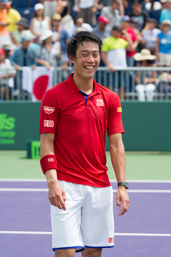 Kei Nishikori (JPN) in action here against Alexander Dolgopolov (UKR) <br /> <br /> Photographer - Andrew Patron/CameraSport<br /> <br /> TENNIS - 2016 Miami Open - The Tennis Center at Crandon Park - Key Biscayne, USA - Day 8 - Monday 28th March 2016<br /> <br /> &copy; CameraSport - 43 Linden Ave. Countesthorpe. Leicester. England. LE8 5PG - Tel: +44 (0) 116 277 4147 - admin@camerasport.com - www.camerasport.com