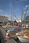 Historic boats in the marina at Woodbridge, Suffolk, England during River Deben Maritime event