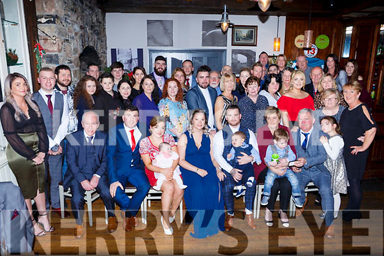 The double christening of baby Ruby and Axel Alan Moriarty. Seated l-r, Jimmy Moloney, Tommy Moriarty, Christina Moloney, baby Ruby Moriarty, Nicole Kocovski, Daniel Moriarty, baby Axel Alan Moriarty, Sinead Moriarty, Jack Moriarty and Jamie Moriarty.