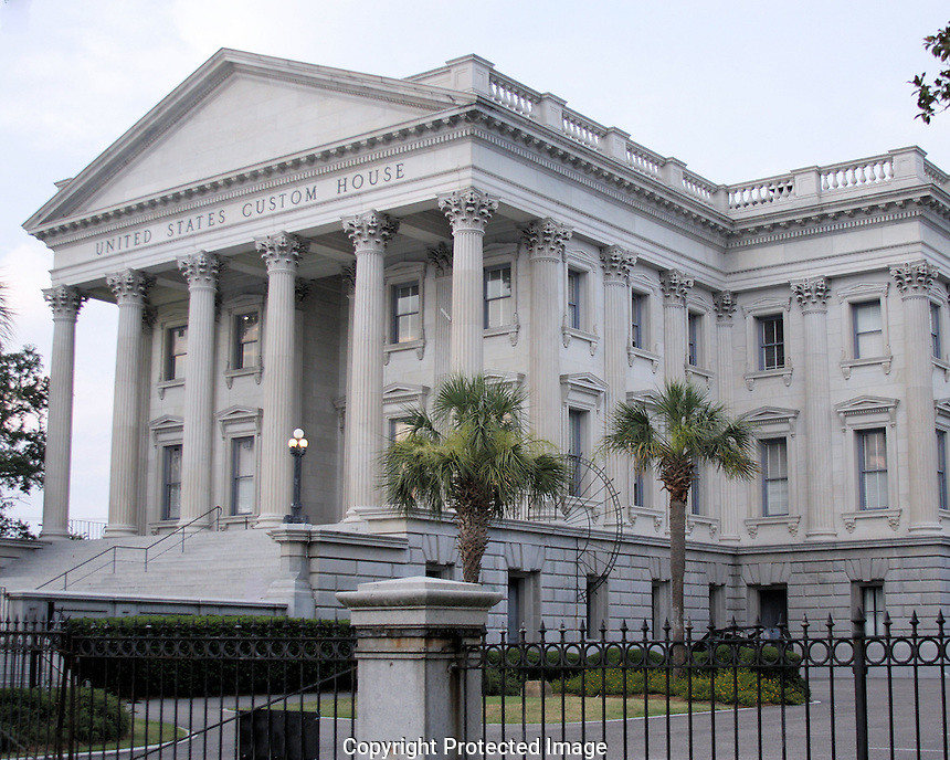 The U.S. Custom House or U.S. Customhouse is the custom house in Charleston, South Carolina. Construction began in 1853, but was interrupted in 1859 due to costs and the possibility of South Carolina's secession from the Union. After the Civil War, construction was restarted in 1870 and completed in 1879. The building was placed on the National Register of Historical Places on October 9, 1974. It is also a contributing property of the Charleston Historic District.