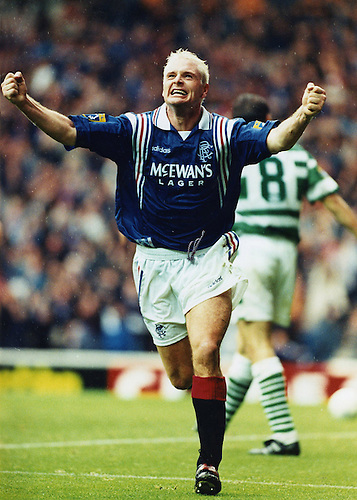 28TH SEPT 1996, PAUL GASCOIGNE CELEBRATES SCORING RANGERS SECOND GOAL AGAINST CELTIC AT IBROX STADIUM, ROB CASEY PHOTOGRAPHY