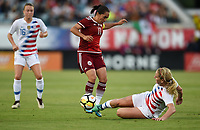 Jacksonville, FL - Thursday April 5, 2018: Mónica Ocampo, Lindsey Horan during an International friendly match versus the women's National teams of the United States (USA) and Mexico (MEX) at EverBank Field.