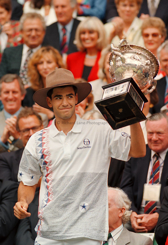 Photo. Steve Holland.Australian Open at Melbourne. 1994..Pete Sampras with the trophy
