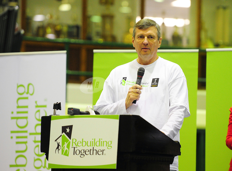 "Feb 3, 2012; Indianapolis, IN, USA; Bill Good speaks during the Rebuilding Together ""Kickoff To Rebuild"" press conference at Aresenal Tech High School. It is one of many events leading up to Super Bowl XLVI between the New York Giants and the New England Patriots. Mandatory Credit: Mark J. Rebilas-"