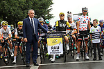 Mayor of Pau Francois Bayrou ready to start Stage 12 of the 104th edition of the Tour de France 2017, running 214.5km from Pau to Peyragudes, France. 13th July 2017.<br /> Picture: ASO/Oliver Chabe | Cyclefile<br /> <br /> <br /> All photos usage must carry mandatory copyright credit (&copy; Cyclefile | ASO/Oliver Chabe)