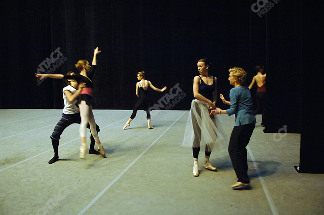 "Dancers at the Bolshoi Ballet in Moscow went through a stage rehearsal of Balanchine's ""Serenade"" - (Anastasia Yatsenko, a soloist, in white) - which has been staged with the help in particular of Suki Schorer (in blue on right), a fomer principal of the NYCB and an expert on Balanchine technique. Moscow, Russia, February 2, 2007"
