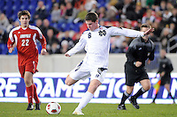 Dillon Powers (8) of the Notre Dame Fighting Irish during the semi-finals of the Big East Men's Soccer Championship against the Louisville Cardinals at Red Bull Arena in Harrison, NJ, on November 12, 2010.