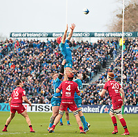 12th January 2020; RDS Arena, Dublin, Leinster, Ireland; Heineken Champions Champions Cup Rugby, Leinster versus Lyon Olympique Universitaire; Josh van der Flier (Leinster) gets high to gather the lineout ball - Editorial Use