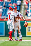 1 August 2018: Washington Nationals shortstop Trea Turner gets a hug from Wilmer Difo after a game against the New York Mets at Nationals Park in Washington, DC. The Nationals defeated the Mets 5-3 to sweep the 2-game weekday series. Mandatory Credit: Ed Wolfstein Photo *** RAW (NEF) Image File Available ***