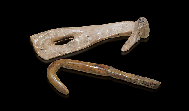 Neolithic bone fishing hooks. 6000 BC. Catalhoyuk Collections. Museum of Anatolian Civilisations, Ankara