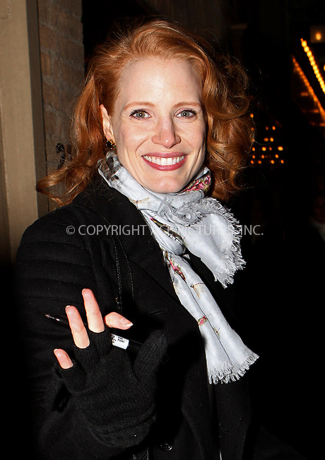 WWW.ACEPIXS.COM....February 9 2013, New York City....Jessica Chastain arrives at the Walter Kerr Theatre for her final performance of 'The Heiress' on February 9 2013 in New York City........By Line: Nancy Rivera/ACE Pictures......ACE Pictures, Inc...tel: 646 769 0430..Email: info@acepixs.com..www.acepixs.com